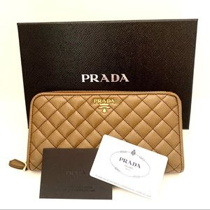 Prada Quilted Saffiano Leather Zip Wallet